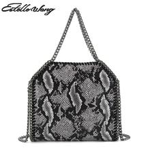 2017 Estelle Wang Casual Serpentine Tote Women Improt Pvc Leather Small Weave Chain Crossbody Bags Female Totes Bolsa 25cm Bag(China)