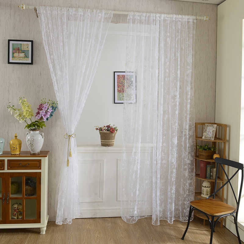 Butterfly Pattern Tulle Voile Door Window Curtains Drape Sheer Divider White