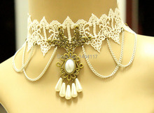 Handmade jewelry - White Lace clavicular Necklace lace collar  torques clothing/dress accessories party jewellery clavicle chain