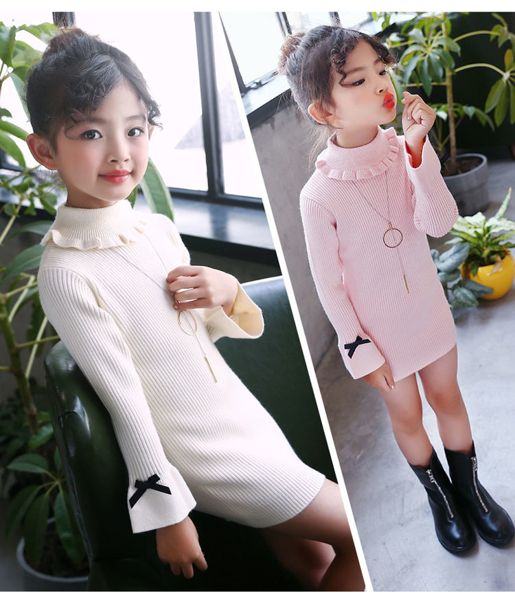 high neck knitting girls sweater dress kids clothes long sleeve knitted red black white autumn winter kids sweater knit tops 5 6 7 8 9 10 11 12 13 14 15 16 years little teenage big girls white girls dresses (17)