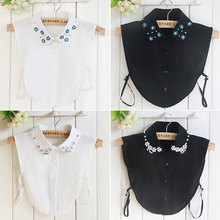 Women Chiffon Shirt Fake Collar faux flower Diamonds Detachable False Collar col Vintage Lapel necklace Shirt Sweater Decoration(China)