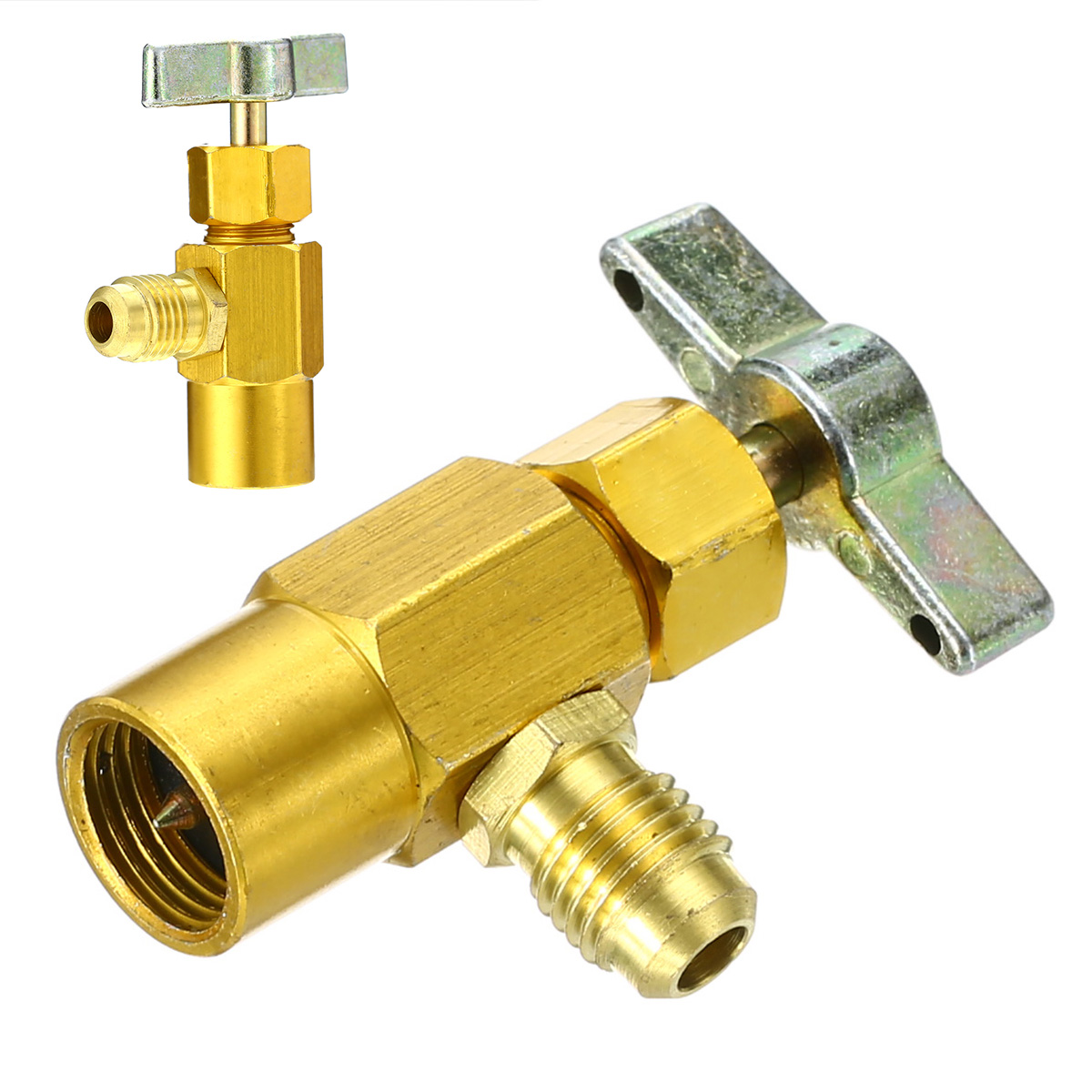 1pc Durable R-134a AC Refrigerant Can Bottle Tap Opener Valve 1/4 SAE M14 Thread Adapter Tools Part Accessories 60*35mm Mayitr