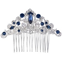 Bella Fashion Oval Droplet Wedding Hair Comb Austrian Crystal Flower Bridal Head Piece For Bride Accessories Party Jewelry(China)