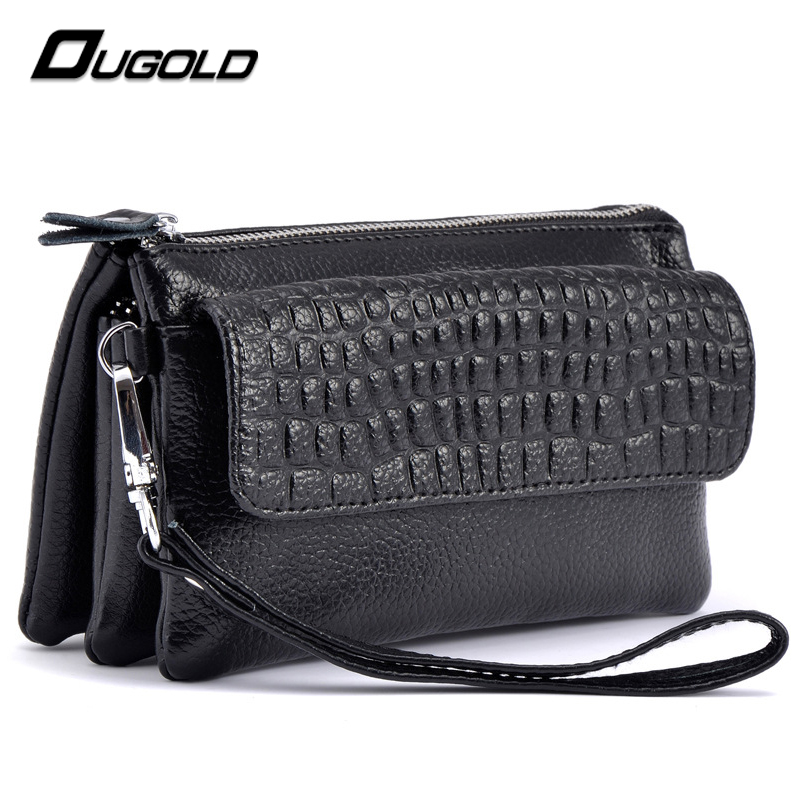 OUGOLD female wallet 2016 New Designer Genuine Leather Wallet Women Cosmetic Mobile Phone Bag Ladies zipper card Holder Purse<br><br>Aliexpress