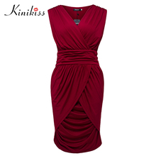 Buy Kinikiss Women Summer Bodycon Office Dress Lady Party Sexy Slim Dresses Red Elegant Pencil Sleeveless V-neck Ruched Dress for $8.70 in AliExpress store
