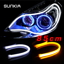 2Pcs/Lot High Power 85CM White/Amber LED Daylight Running Light Flexible LED Strip DRL Switchback 2016 Headlight Blue/Red/Yellow