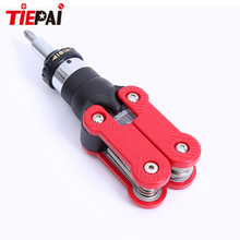 Tiepai 15 in-1 Multi-Tool Ratchet Screwdriver with Hex Key Wrench Combo DIY Hand Tool Adjustable Handle Shapes for Best Torque(China)