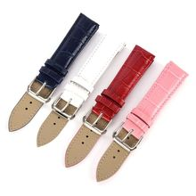 12 14 16 18 20mm Leather Watch Band Bamboo Grain Waterproof Leather Strap Belt Buckle