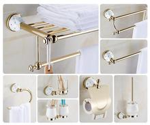 Modern sanitary hardware set Golden Finished Bathroom Accessories Products ,Towel Holder,Towel Bar towel ring set Free Shipping(China)