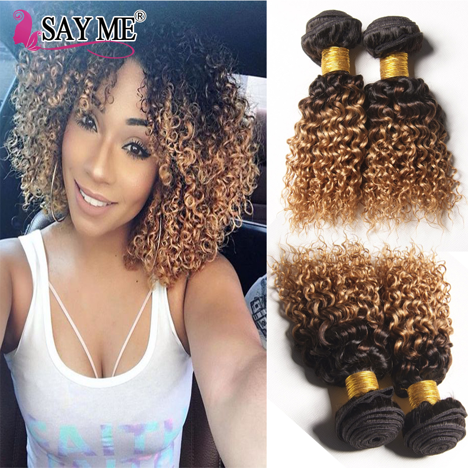 2 Tone Ombre Kinky Curly Hair Weave 3 Bundles Brazilian Weave Hair Bundles Dark Roots Blonde Hair Short Curly Weave Human Hair<br><br>Aliexpress