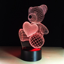 3D Colorful LED Love Bear Touch Sensor Night Light Children Bedroom Table Lamp Christmas Wedding Party Decor USB Rechargeable