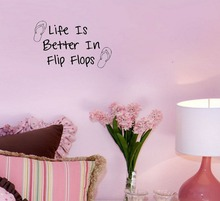 Free shipping: Life Is Better In Flip Flops Decor Vinyl Wall Decal Quote Sticker Inspiration Wall Decals Vinyl Stickers Home Dec