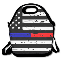 3D Print Thin Blue Line Flag Lunch Bags Insulated Waterproof Food Girl Packages Womens Kids Babys Boys Handbags(China)