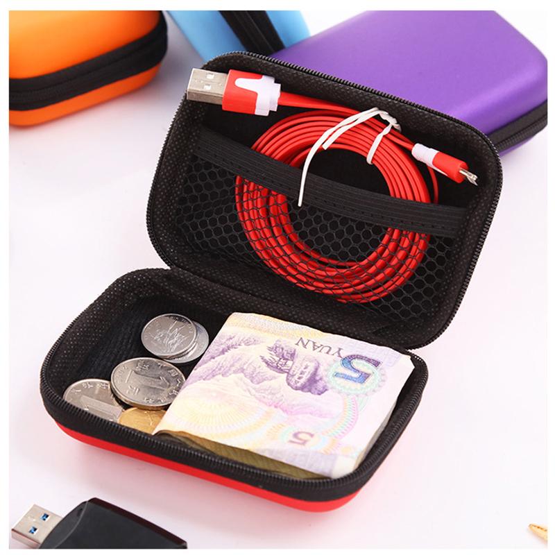 prativerdi Zippered Lock Hard Earphone Case EVA Leather Headphone Storage Bag Protective Usb Cable Portable travel Organizer8
