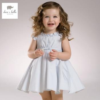 DB3296 dave bella d'été bébé fille rose bleu fleurs robe sans manches rayé robe princesse robe de mariée
