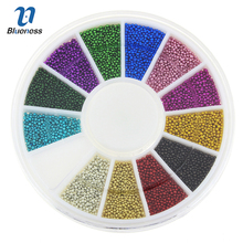 Blueness 12Colors Mixed Glitter Beads For 3D Nail Art Jewelry Charms Nails Manicure Decorations Accessories Stud DIY Tips ZP206