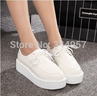 2016 vivi fashion vintage casual shoes for women Solid/ Skull/Star Leather Punk Flats Harajuku platform<br><br>Aliexpress