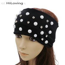 GZHilovingL News Women Preals Headband Casual Hip Hop Wide Headwrap Ladies Hair Band Accessories Soft Cotton Rivets Headbands