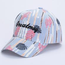 Women's Sports Baseball Caps 2017 casual ladies Snapback Golf ball Hip-Hop Hat with leaf letter print hat cotton Baseball Cap(China)