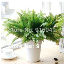INDIGO- Wholesale 100 Green Sword Fern Free Shipping Decorative Leaf Artificial Flower Wedding Flower Hotel Wall FlowerParty(China)