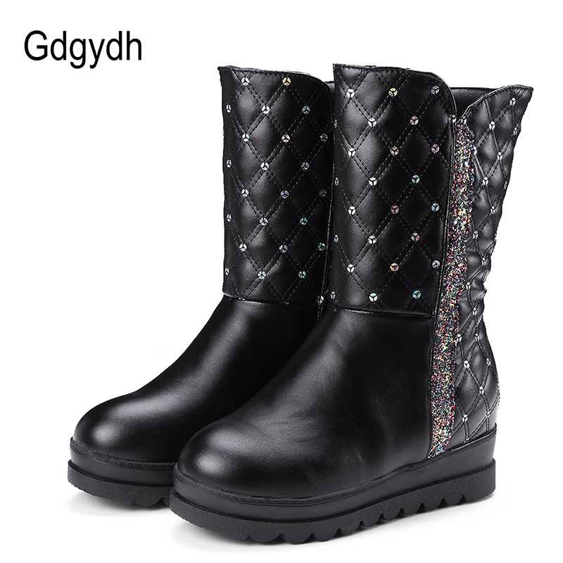 Gdgydh Plush Snow Boots Winter Shoes For Women Mujer Botas Waterproof White Black Sexy Crystal Female Warm Shoes Plus Size 43<br>