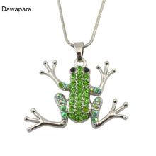 Dawapara Silver Rhodium Green Crystal Frog Necklace Snake Chain Animal Pendant Jewelry(China)