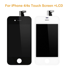 "New Black White LCD Display For iPhone 4/4s+Touch Screen 3.5"" Touch Panel Glass Sensor Digitizer Assembly Replacement"