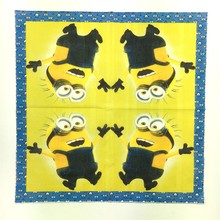 20pcs Minions 33*33cm Cartoon rush Me Movie character Paper Napkin Wood Tissue Kids birthday Party decoration supply