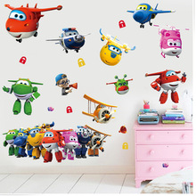 3D cartoon Super Wings Jett airplane PVC Decals Adhesive Wall Stickers Mural Home Decor kids boy bedroom nursery birthday gift(China)