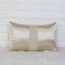 SunnyRain 1-Piece Luxury Imitated Silk Nail Bead Cushion Cover Imitated Slik Decorative Pillow Cover 30x45cm(China)