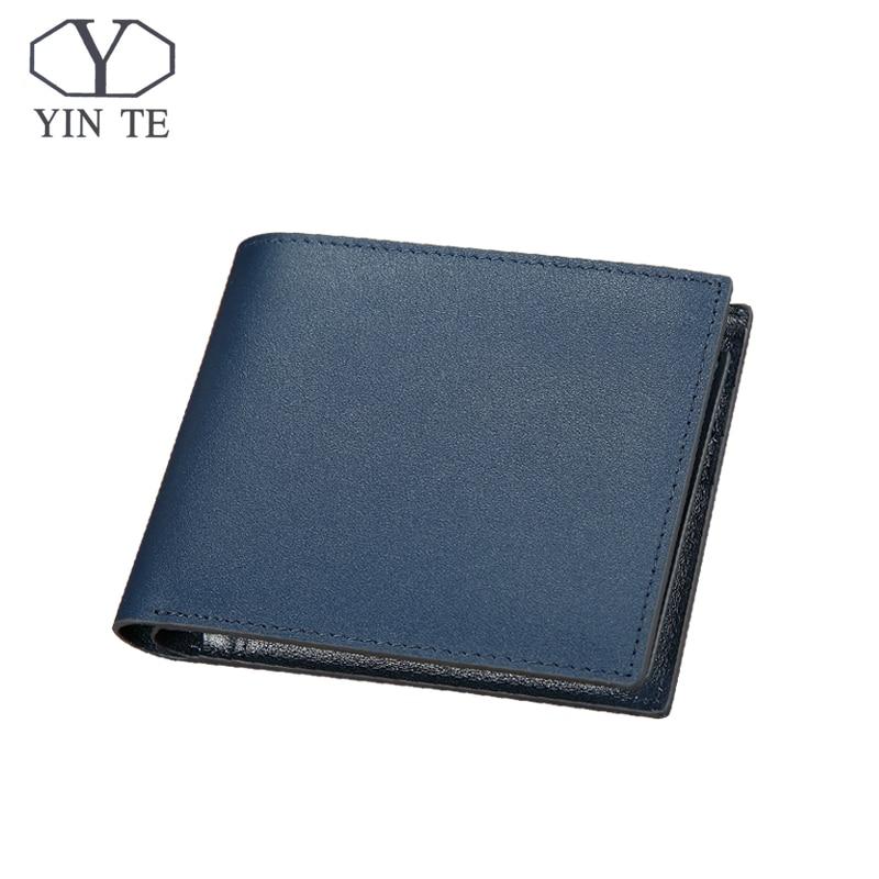 YINTE 2018 Leather Wallet Men Genuine Cow Leather Blue Wallet Two mezzanines Men Short Card Wallet Purse Portfolio T8848C<br>