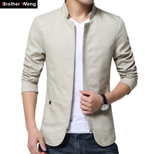 Broter Wang 2017 new white jacket Men 's Fashion Collar Slim Casual Jacket Cotton washed men Solid color coats 4XL 5XL(China)