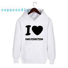 Fashion Women Band I Love One Direction 1D Design Hoodies Fall and Winter Casual Women Men High quality Hooded Sweatshirts(China)