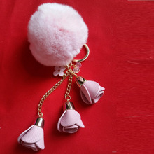 Rabbit Hare Bunny Keychain For Womens Bag Real Rabbit Fur Rose Flower Charms Car Pendant Keychain