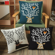 Lucky Deer Head Tree Branch Bird Net Sofa Throw Pillows Christmas Decorative Cotton Linen Chair Seat Cushion Home Decor 45x45cm