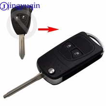 jingyuqin 2 Button Remote Key Blank& Key Shell /Car Key Case For Chrysler For Jeep Compass For Dodge Wrangler Patriot Case Fob