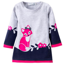 Kids Winter Warm Dress Fashion Girl A-line fox Sweater Dresses Knitted Long sleeve O Neck Children Clothing Party Wear Dress 2-6(China)