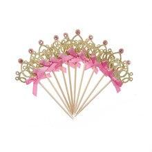 1/10/24/50pcs Gold Glitter Diamond crown Love Mermaid tail Cupcake Toppers Wedding Cake Decor Wedding Birthday Party supplies(China)
