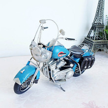 a mini blue cool handicraft metal model motorcycle toy for kid gift, special collection, great ornament for cafe, canteen, store