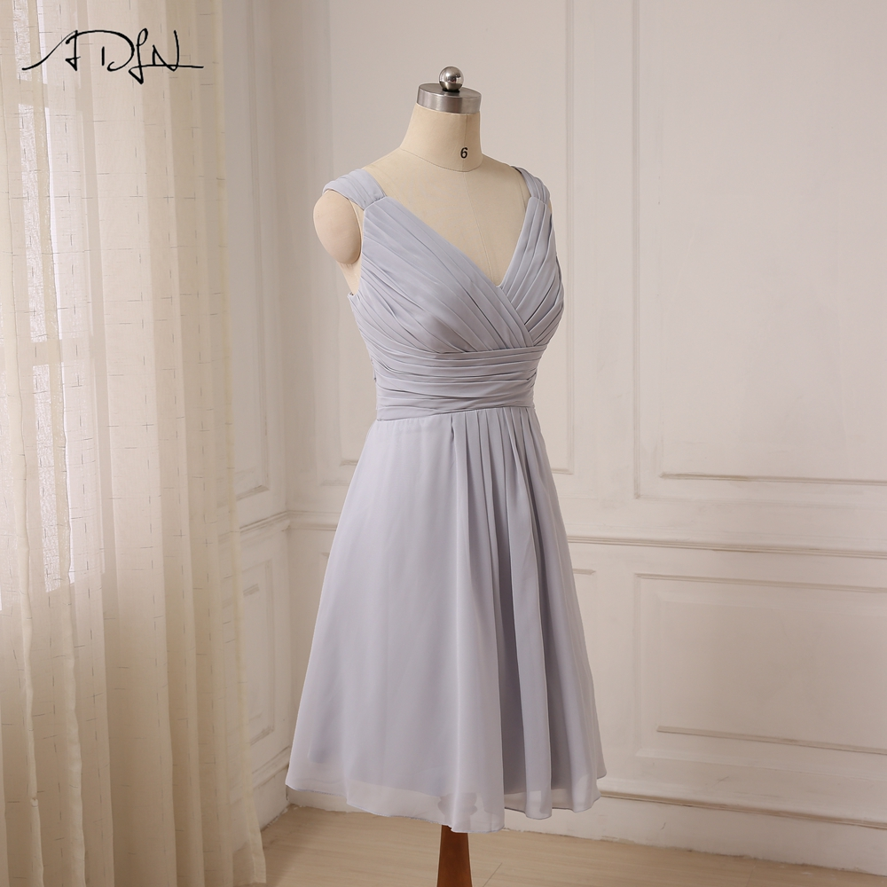 ADLN Cheap Sexy Short Bridesmaid Dresses Knee Length Cap Sleeve Chiffon Bridesmaid Gowns For Wedding Party Lace Up Back 7
