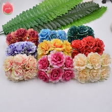 6pcs 4.5cm Silk Handmade Tree Peony Artificial Flowers For Wedding Party Home Hats Shoes Decoration DIY Marriage Wreath Plants