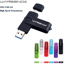 WANSENDA Rotatable USB 3.0 Pen Drive Metal Dual Micro USB Flash Drive 8GB 16GB 32GB 64GB 128GB Pendrive for Android Device