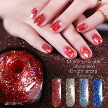 2017 Brand New Glitter Polish Nail Art 10ml Quick Dry Waterproof Pigments Red Blue Silver Shimmer Glitter Nail Polish Lot(China)