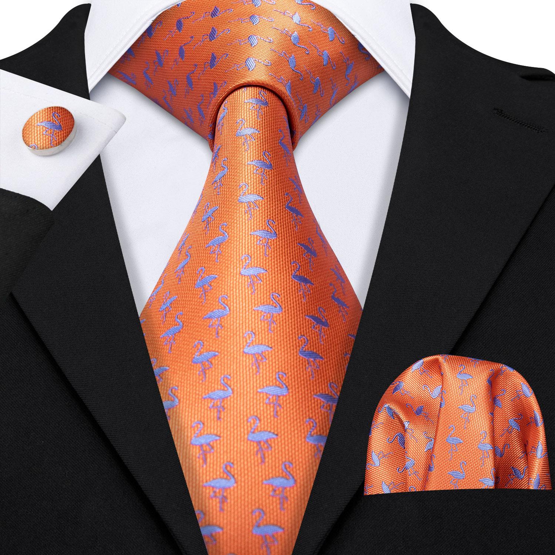 Men Neckties Suit Accessories Flamingo Formal Tie Fashion Slim Party Suit Neckties