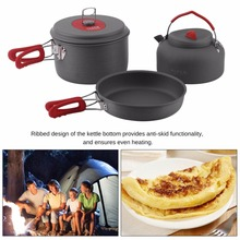 Outdoor Non-Stick Aluminum Camping Cookware set Ultralight Cooking Picnic Kettle Dishcloth For 2-3 People camping frying pannen