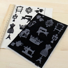 Zakka flocking pyrography heat transfer printing paper for colthes t shirt Patchwork 12x17cm Black iron on fabric stickers patch