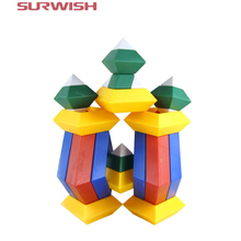 Surwish 15pcs Kids toys Diamond Changeable Building Blocks Magic Tower Pyramid Cube Assembly Educational Toy for Baby Children