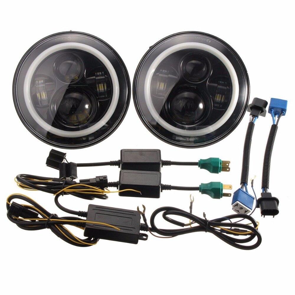 7INCH 7 LED 40W Headlight Halo Angel eyes for Jeep Wrangler JK TJ &amp; Harley for Jeep 97-15 Wrangler<br><br>Aliexpress