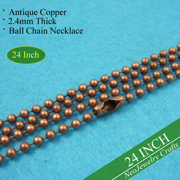 24 inch Antique Copper Ball Chain Necklaces, 60cm Vintage Copper Bead Chain Necklace, 24 inch Metal Necklace Chains