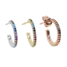 13-15mm mini small circle hoop pave multi colorful cubic zirconia CZ rose gold color delicate minimal multi pierced hoop earring(China)